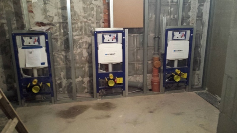 New restrooms in the basement during the construction phase.