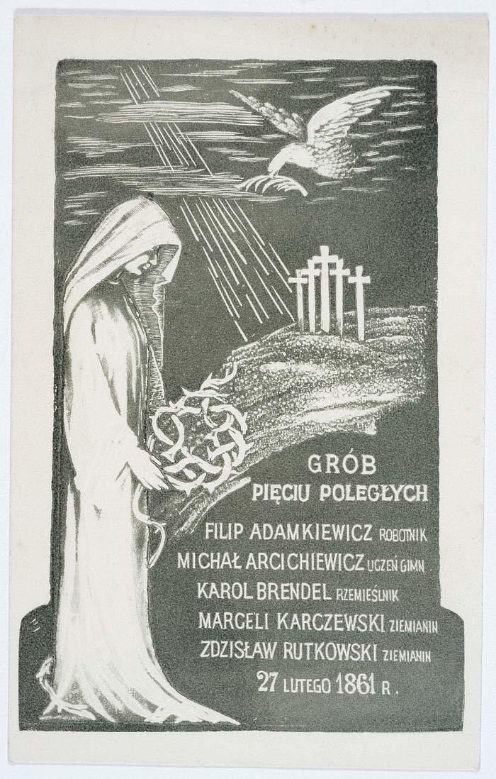 Pocztówka z nagrobkiem Pięciu Poległych wystawionym Starych Powązkach w Warszawie w 1915 r.